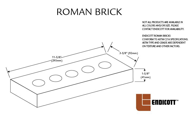 Endicott Face Brick Sizes